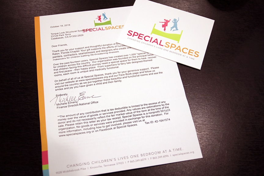 Letter from Special Spaces