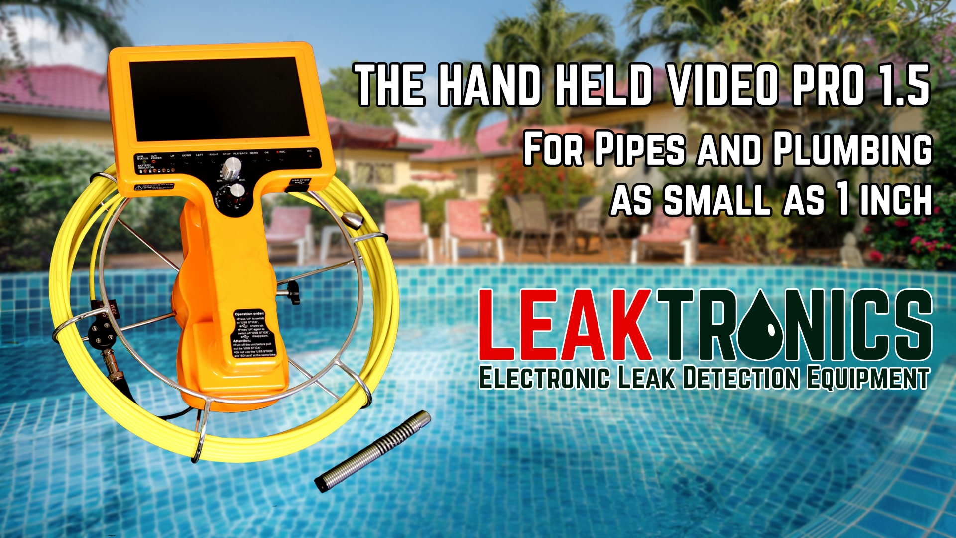 Hand Held Video 1 1/2 inch pipe camera - One Inch Pipe Camera