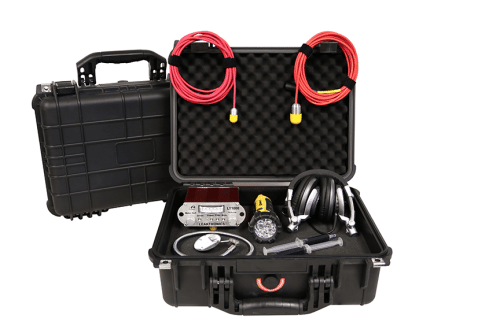 The Pro Kit with LeakTronics hysrophones, mics for finding leaks in swimming pools.